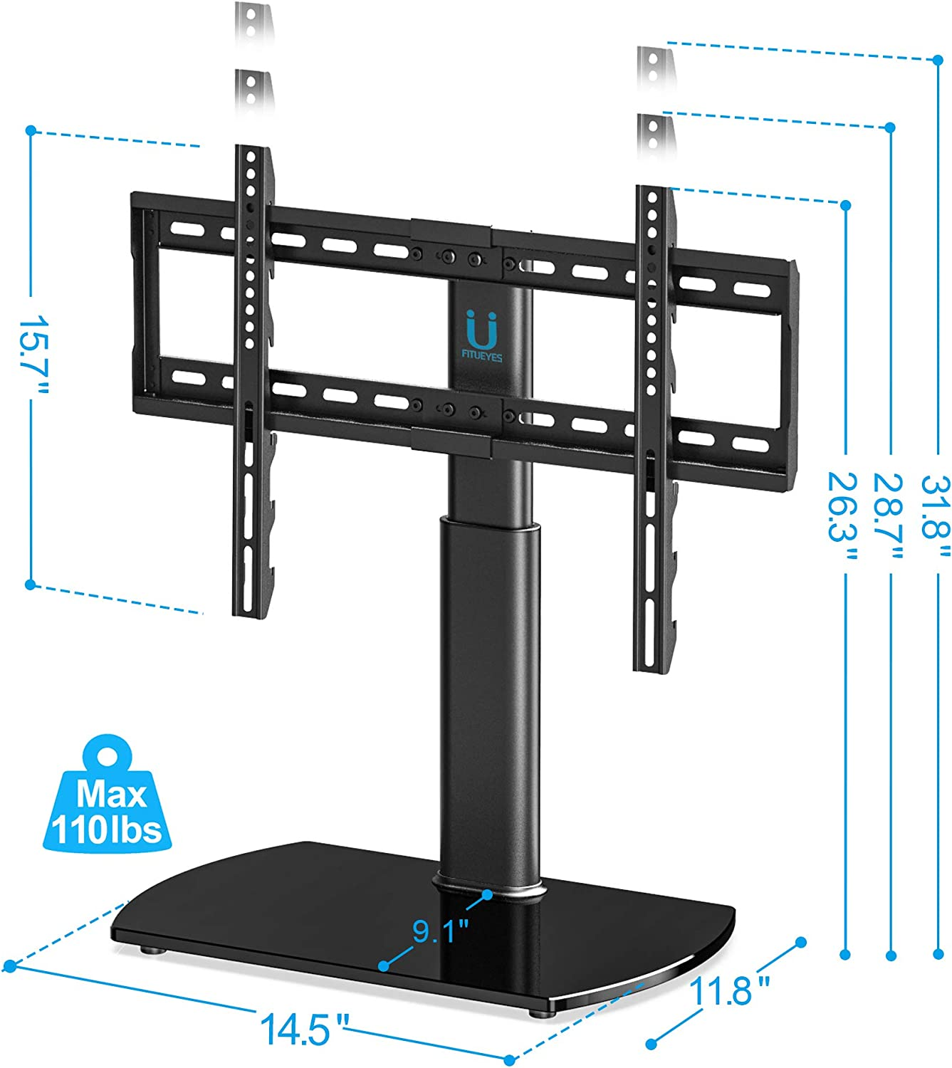 FITUEYES Universal TV Stand Base Swivel Tabletop TV Stand with Mount for 32 to 65 inch Flat Screen TV 80 Degree Swivel, 3 Level Height Adjustable,Tempered Glass Base,Holds up to110 lbs Screens