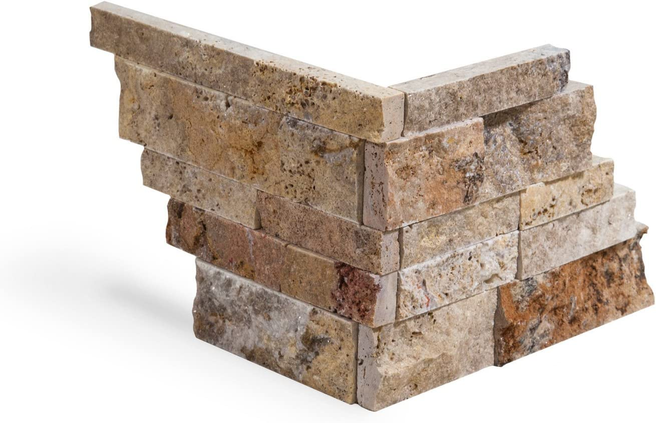 Scabos Travertine Stacked Ledger Wall Panel Tile Corner, Split-faced (75 PCS.)