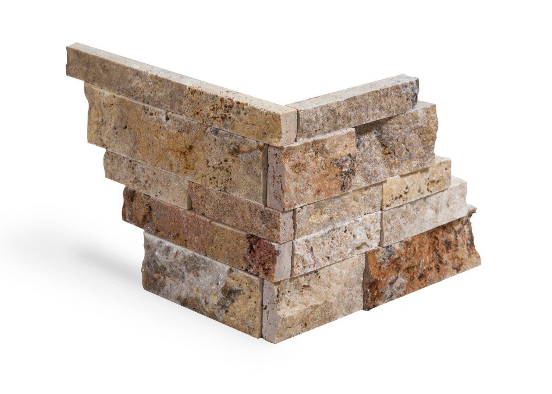 Scabos Travertine Stacked Ledger Wall Panel Tile Corner, Split-faced (5 PCS.)