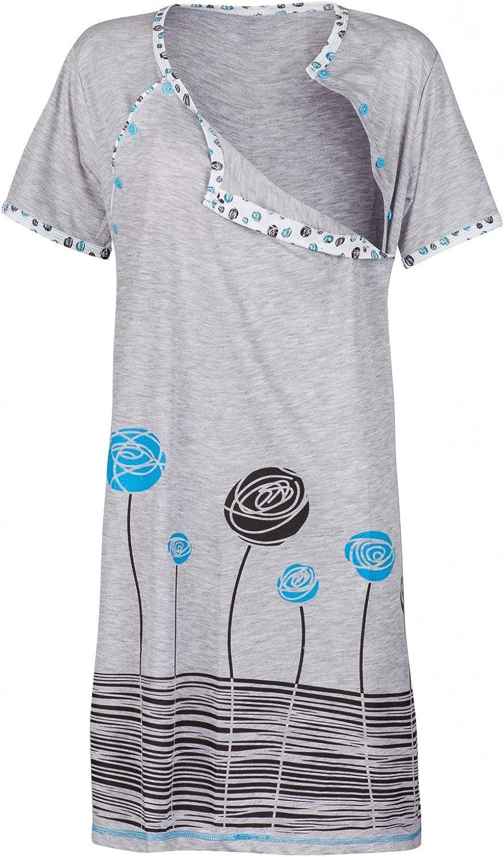 Happy Mama Womens Maternity Nursing Breastfeeding Nightdress Shirt Gown Turquoise, UK 12, L 135p
