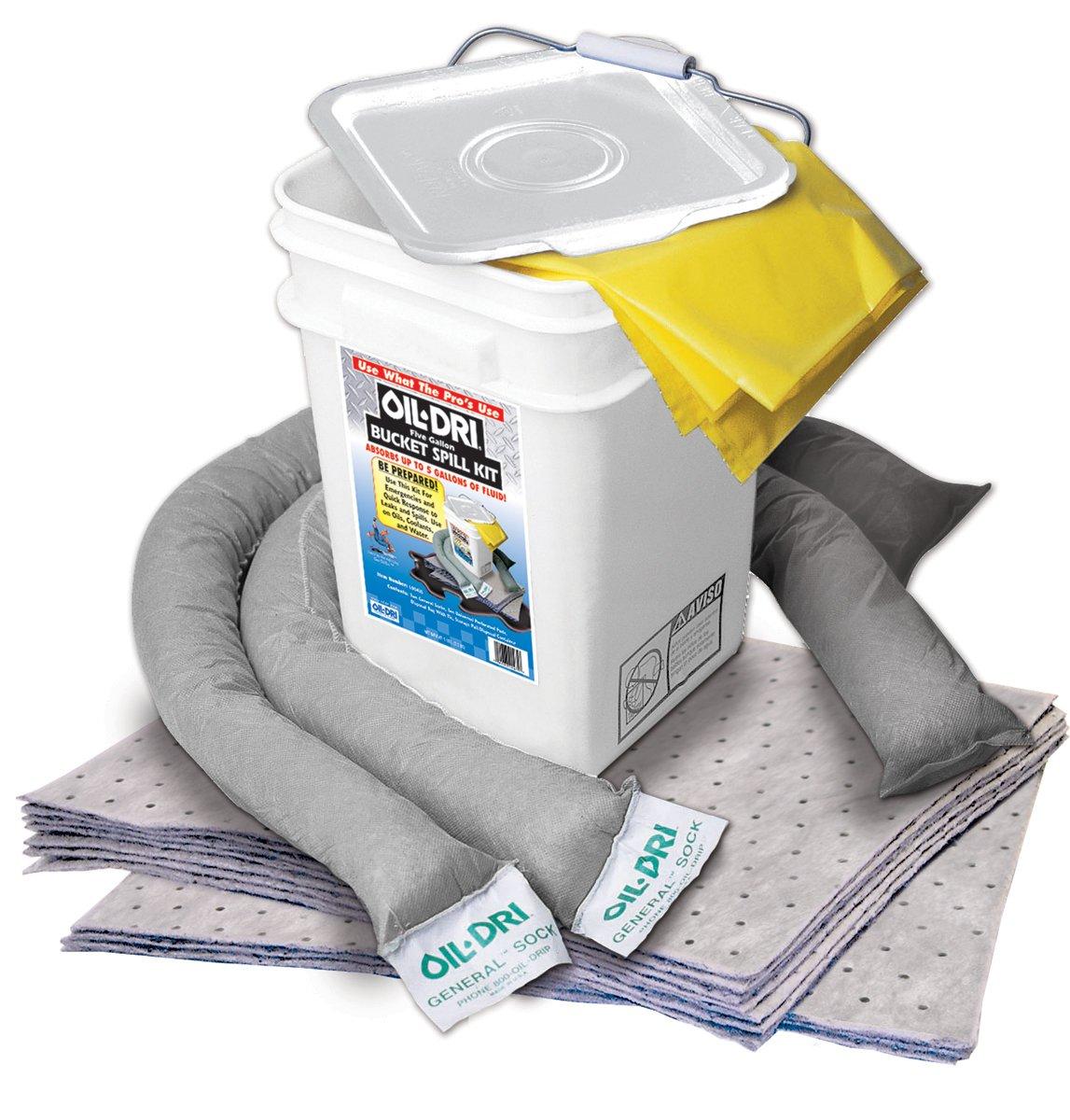 Oil-Dri L90435 Compact Universal 5-Gallon Bucket Spill Kit, 5-Gallon Maximum Absorption Capacity: Industrial Spill Response Kits: Industrial & Scientific