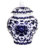 Ancient Chinese Style Blue and White Porcelain Helmet-shaped Temple Jar. Small