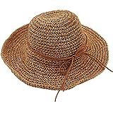 61536a4d074a7 Tinksky Amplia los casquillos del visera plegable sombrero de paja playa  sol verano