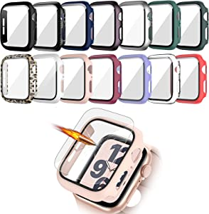 14 Pack Case with Tempered Glass Screen Protector for Apple Watch 38mm Series 3/2/1,JZK Slim Guard Bumper Full Coverage Hard PC Protective Cover HD Ultra-Thin Cover for iWatch 38mm Accessories