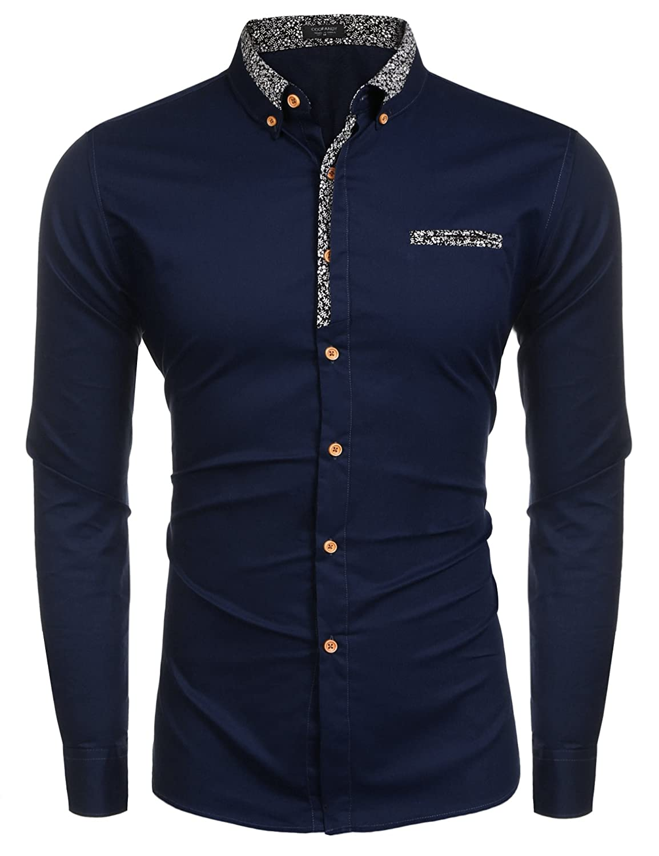 TALLA L. Coofandy - Camisa Casual - Manga Larga - para Hombre
