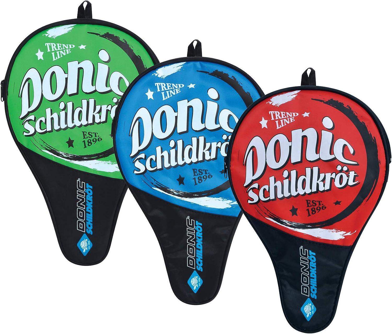 Donic-Schildkröt Trend Cover - Funda para Raqueta de Tenis de Mesa, Compartimiento para 3 Pelotas, Rojo/Verde/Azul