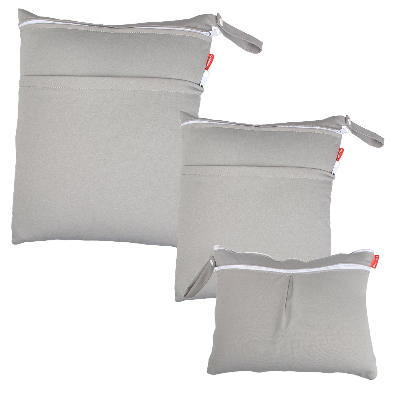 Damero 3pcs Dry Bag pacchetto Wet per pannolini di stoffa pannolino Bag Daycare sacchetto dell'organizzatore, Azzurro Damai