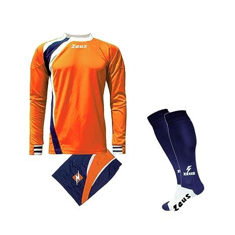 19e2a85d0e60ad Zeus Completino Kit Calcio Spagna COMPRESO di Calza Calcetto Allenamento  (Arancio-Blu-Bianco