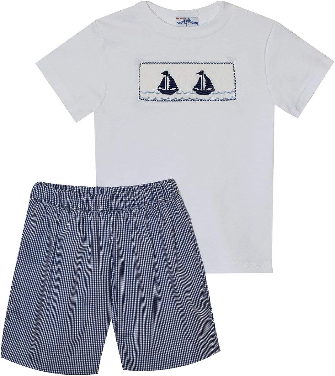 Sails Smocked Navy Check Boys Short Set Short Sleeve