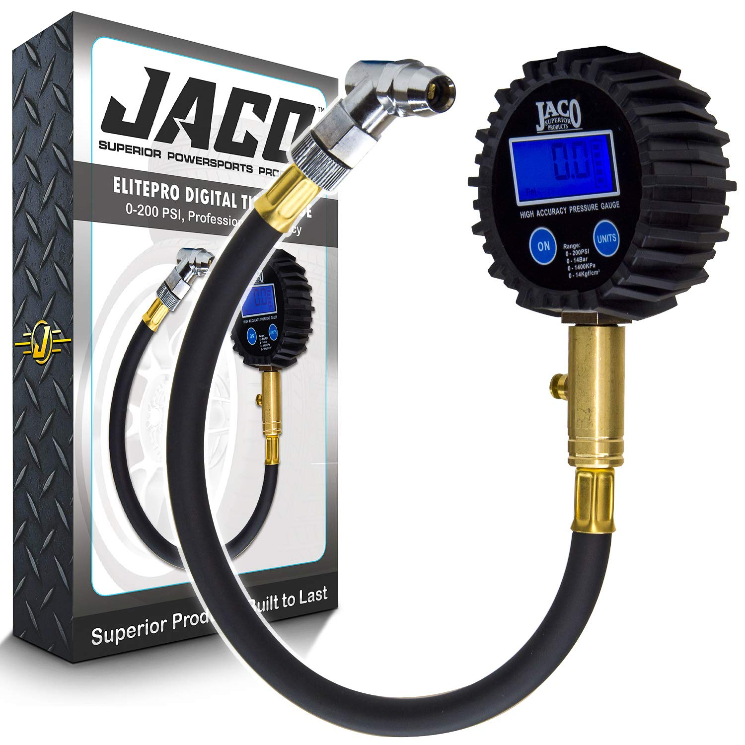 JACO ElitePro Digital Tire Pressure Gauge - Professional Accuracy - 200 PSI by JACO Superior Products