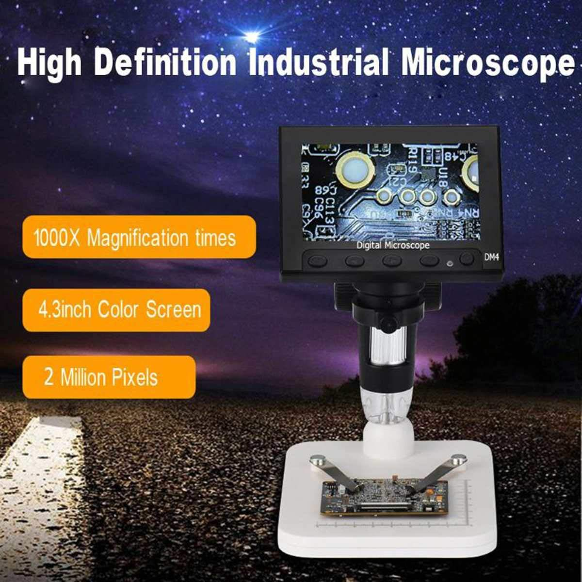 Elikliv 4.3 inch LCD Digital USB Microscope Endoscope Record 1000X Magnification Zoom, 8 Adjustable LED Light, Micro-SD Storage, Camera Video Recorder for Repair Soldering by Elikliv