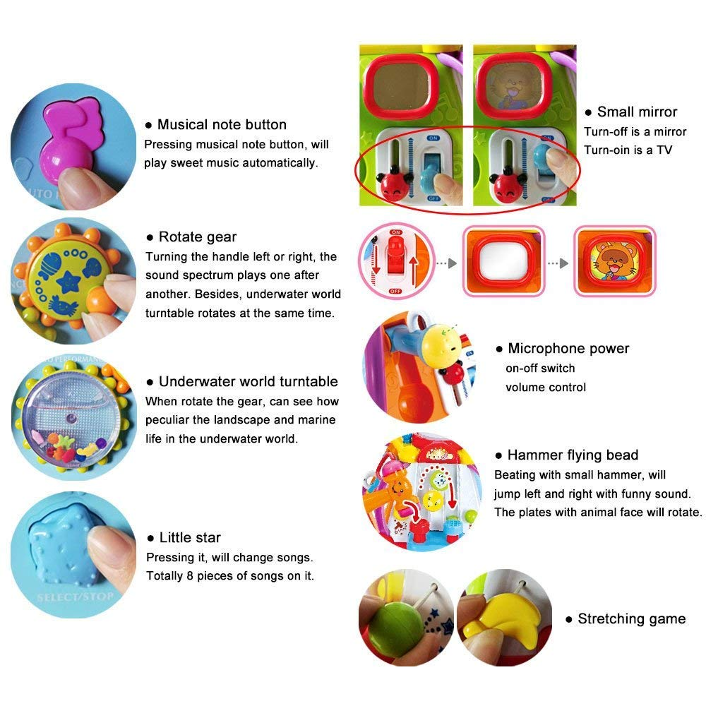 Yiosion Musical Activity Cube Play Center Educational Learning Toy with Music and Sounds for 1 2 3 Year Old Baby Toddler Girls Boys by Yiosion (Image #5)