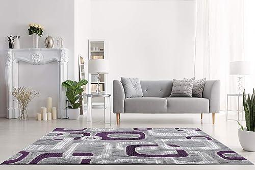 L BAIET Emberly Purple Geometric 8 x 10 Rug