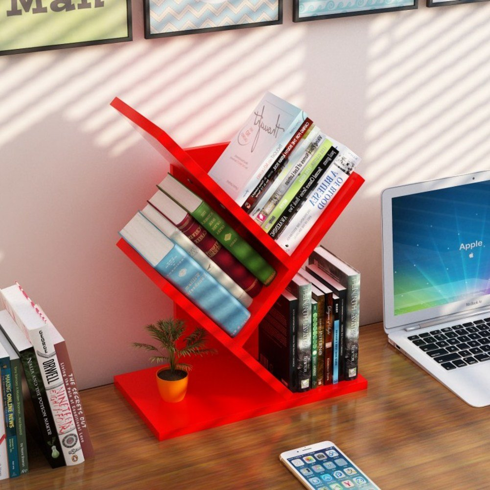 12x7x24inch Rart Wood Desk Storage Shelves,Bookshelf Storage Organizer Display Shelf Rack Desktop Organizer Supply Storage Rack-White 31x17x60cm