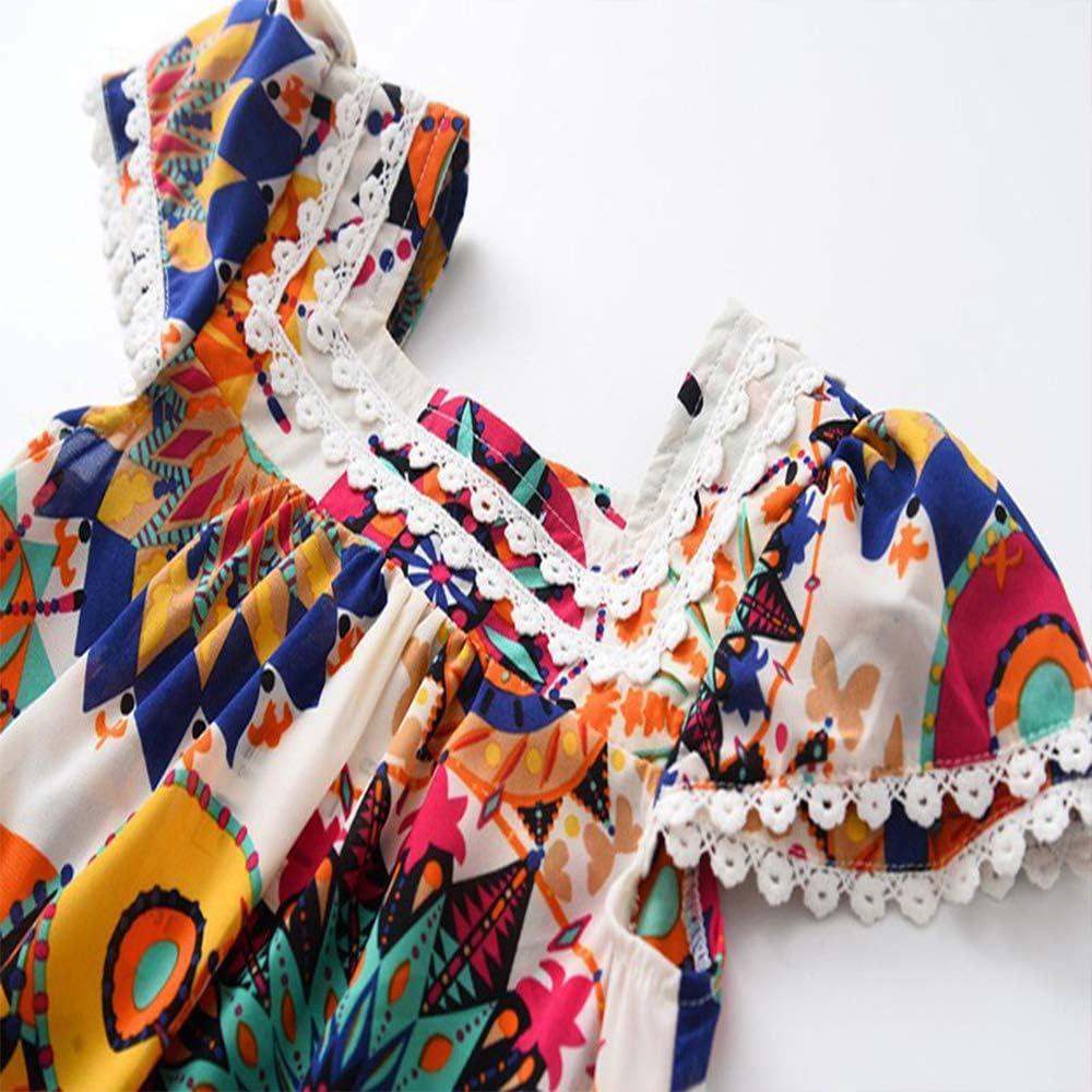 Hipea Toddler Baby Girls Clothes Bohemian Short Sleeveless Flower Princess Floral Dress Princess A-line Skirt Formal Kids Summer Outfits Size100//2-3T