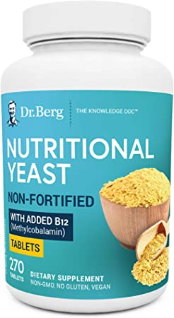 Dr. Berg's Nutritional Yeast Tablets – Non-Fortified Natural B12 Added - All 8 B Vitamin Complex – No Gluten Non-GMO No Synthetics - 270 Vegan Tablets Dietary Supplements