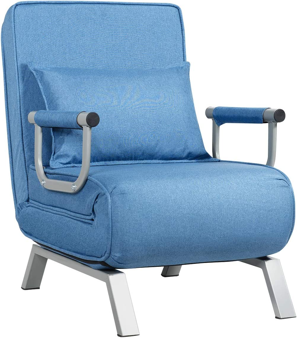 Giantex Convertible Sofa Bed Sleeper Chair, 5 Position Adjustable Backrest, Folding Arm Chair Sleeper w/Pillow, Upholstered Seat, Leisure Chaise Lounge Couch for Home Office (Blue)