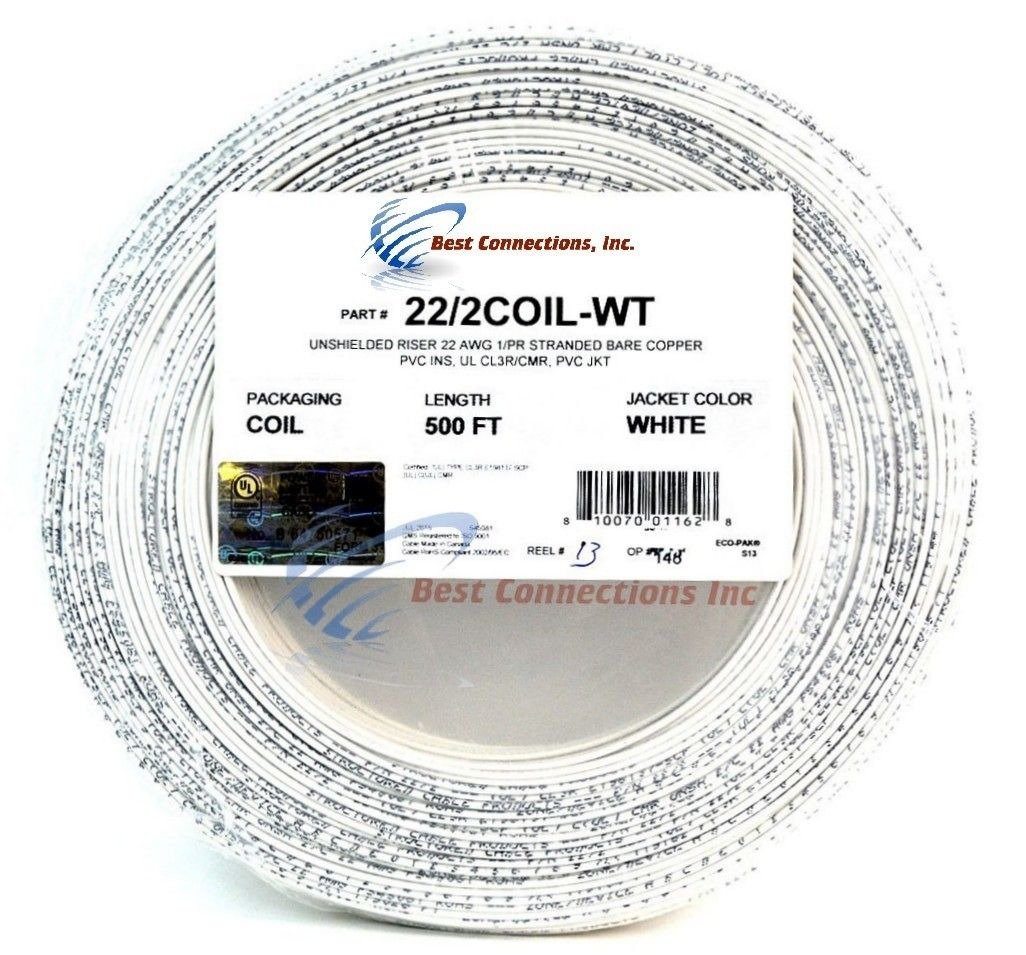 Alarm Wire White 22 Gauge Copper Stranded 2 Conductor 500' Coil Pack UL Listed
