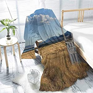 jecycleus Antique Decor Children's Blanket an Old Door Standing Alone in A Grassy Field with Mountains Summer Sky in The Background Lightweight Soft Warm and Comfortable W57 x L74 Inch