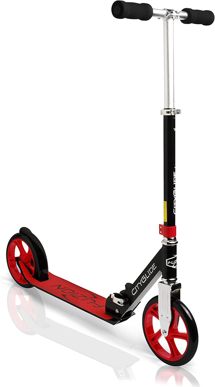 Fuzion Cityglide Adult Kick Scooter – Smooth, Pro Push Urban Scooters for Adults, Commuter Scooters, City Scooters – Folding Scooter and Adjustable T-Bar – Big Kids, Boys and Girls Max 220lbs
