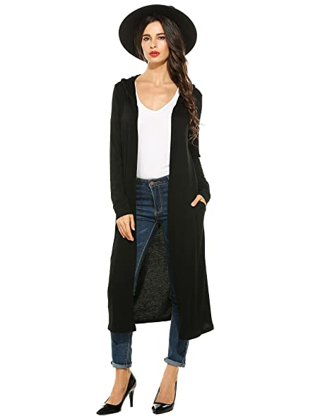 Womans Lightweight Waterfall Open Front Long Sleeve Hoodies Maxi ...