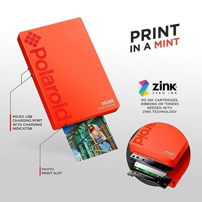 Polaroid Mint Impresora de Bolsillo Inalámbrica (Rojo) Paquete de ...