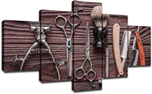 Vintage Barber Shop Tools Wall Pictures Canvas Art Hair Salon Wall Decor Framed Artwork Posters Paintings Room Decorations Ready to Hang(60''Wx32''H)