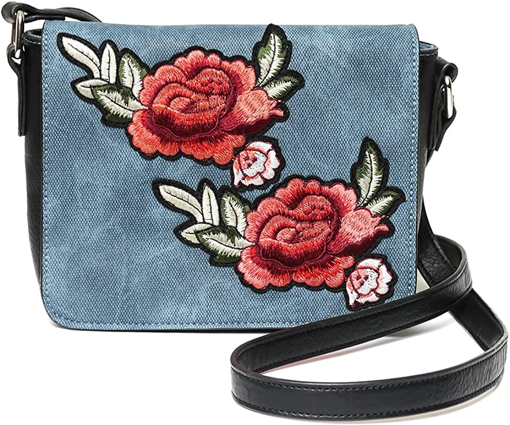 Grunge Flowers Print PU Leather and Suede Therapist Bag