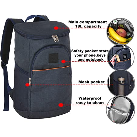 DOACKIEY Insulated Cooler Backpack Lunch Box Bag Leakproof Soft Cooler for Lunch Picnic Hiking Beach Park Camping Trip 18L Navy