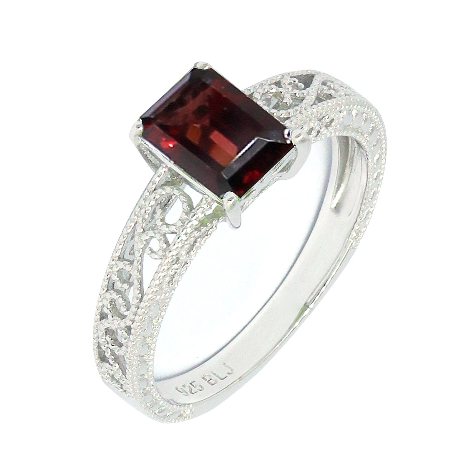 Filigree Sterling Silver Emerald Cut Natural Mozambique Garnet Statement Ring (2.2 CT.T.W)