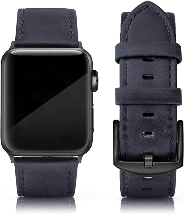 SWEES Leather Band Compatible for iWatch 42mm 44mm, Genuine Leather Replacement Wristband Strap Compatible iWatch Series 6, Series 5, Series 4, Series 3, Series 2, Series 1, SE Sports & Edition Men, Yale Blue