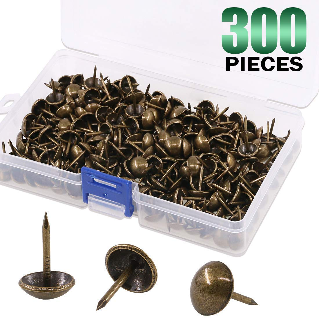Keadic 300Pcs [ 7/16'' in Diameter] Antique Upholstery Tacks Furniture Nails Pins Kit for Upholstered Furniture Cork Board or DIY Projects - Bronze