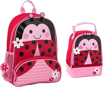 Ladybug Pink Girls Preschool Toddler Backpack /& Lunch Box Set