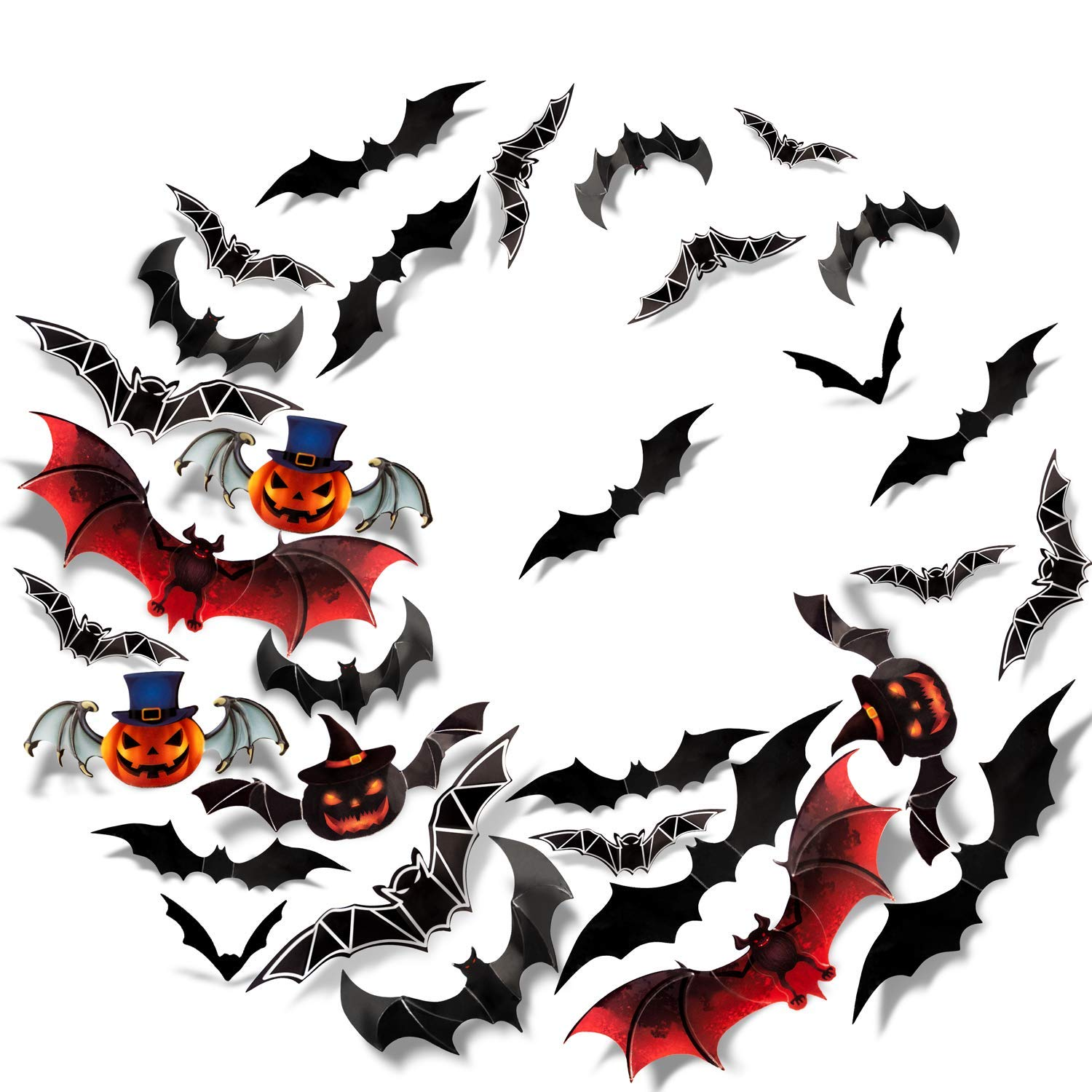 Sumille 3D Bats Wall Stickers Halloween Decal 36Pcs Art Decor for Haunted House Carnival Vampire and Batman Decoration