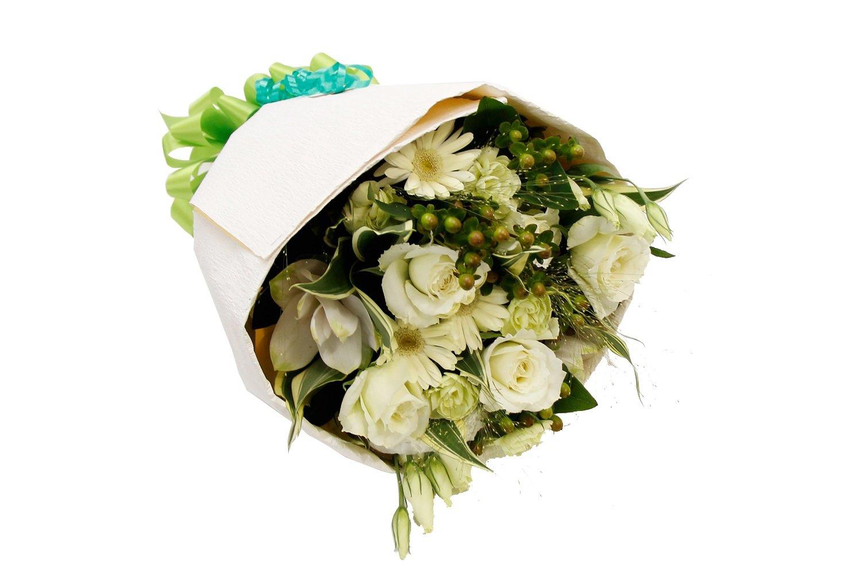 花束 生花フラワーギフト スタンダードタイプ 白xグリーン B01HGHT5RS 白xグリーン|スタンダードラッピング 白xグリーン