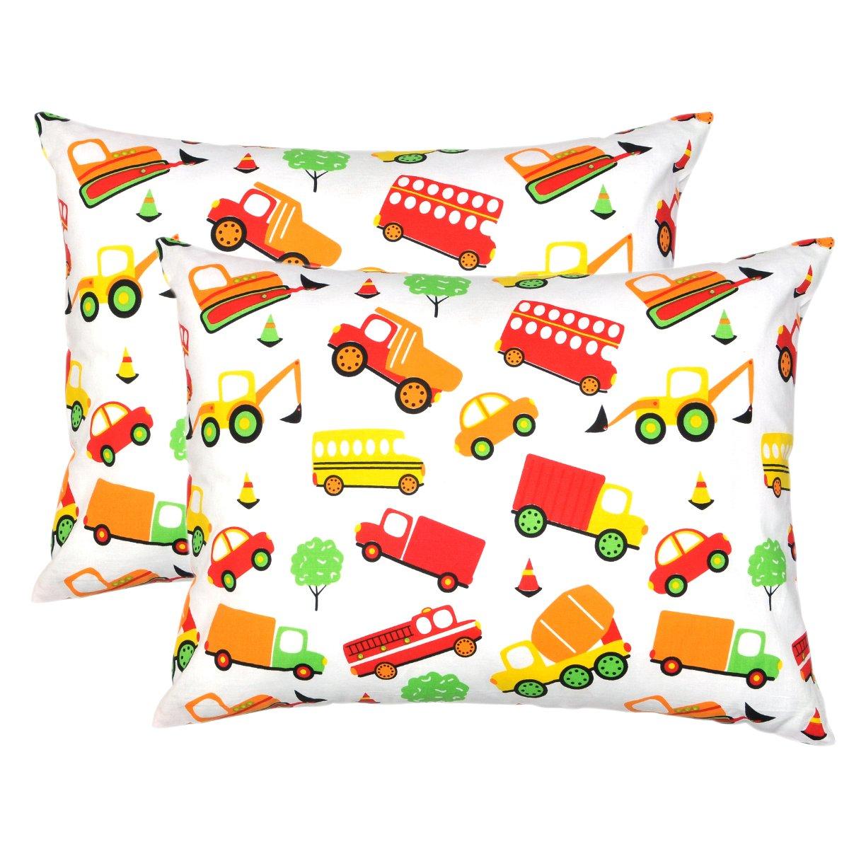 Mellanni Toddler Pillowcase Set Cars - Pack of 2 Toddler Size 14'' x 19'' - Super Soft Kids Bedding (Set of 2 Pillowcases, Cars)