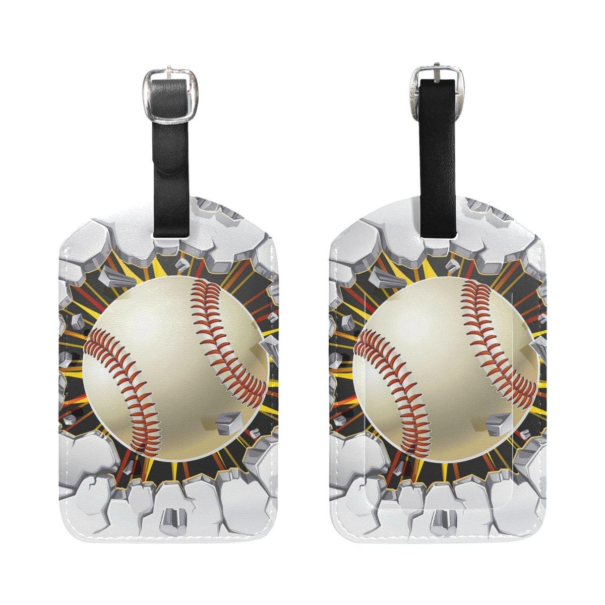 2d6cc8690b63 Amazon.com   DEYYA Baseball Luggage Tags for Suitcase Labels Bag ...