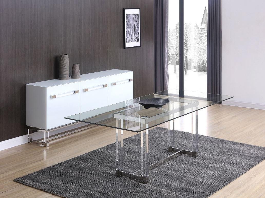 Amazon com - Whiteline Brianna Acrylic Dining Table DT1456