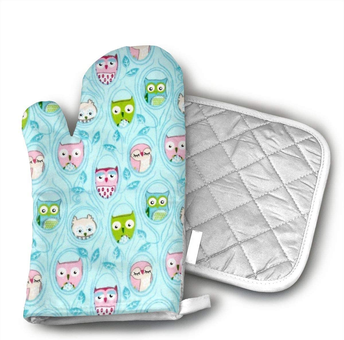 Owls in Trees Cotton Puppet Oven Mitts and Pot Holder Kitchen Set with Neoprene Non-Slip Grip, Heat Resistant, Oven Gloves and Pot Holders Set for BBQ Cooking Baking, Grilling,Machine Washable.