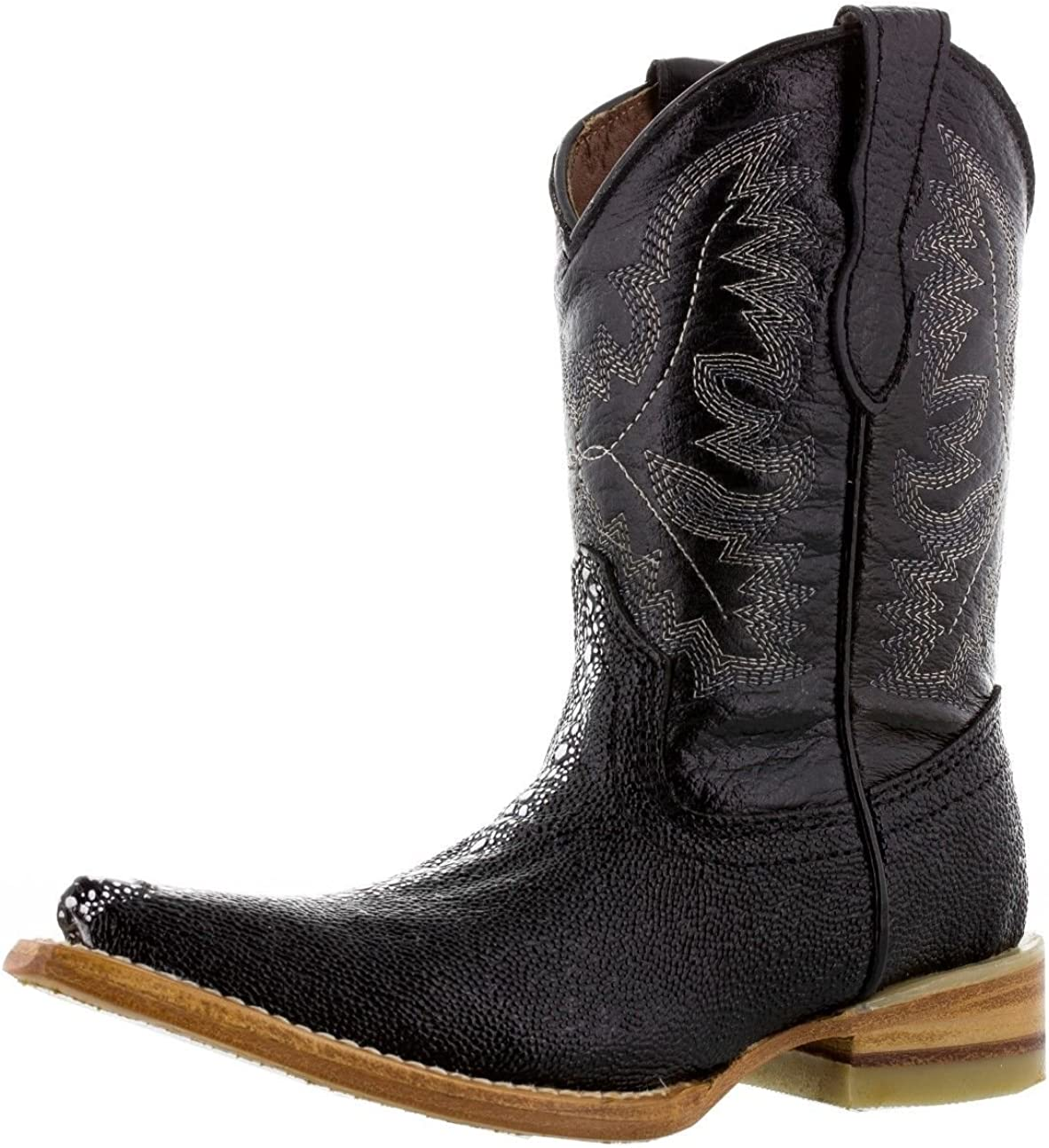 ids Boys New Leather Stingray Design Cowboy Western Durable Boots Black