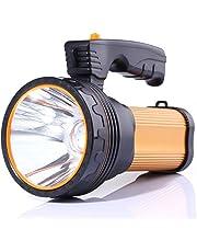 ALFLASH Lampe Torche LED Rechargeable 7000 lumens Etanche CREE LED Puissante Portable Lampe de Poche Led Rechargeable Pour Randonnée Camping,9000mAH (Or)