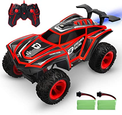 Amazon Com Deerc Rc Cars 1 12 Scales Remote Control Car 4wd Off Road Rock Crawler 2 4ghz All Terrain Monster Truck With Rear Fog Stream 5 Led Lighting Modes 2 Battery For 40 Min Play Toy Car