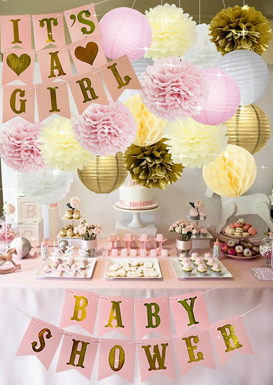 90 peach cream and gold baby shower pink peach and gold for Baby shower dekoration