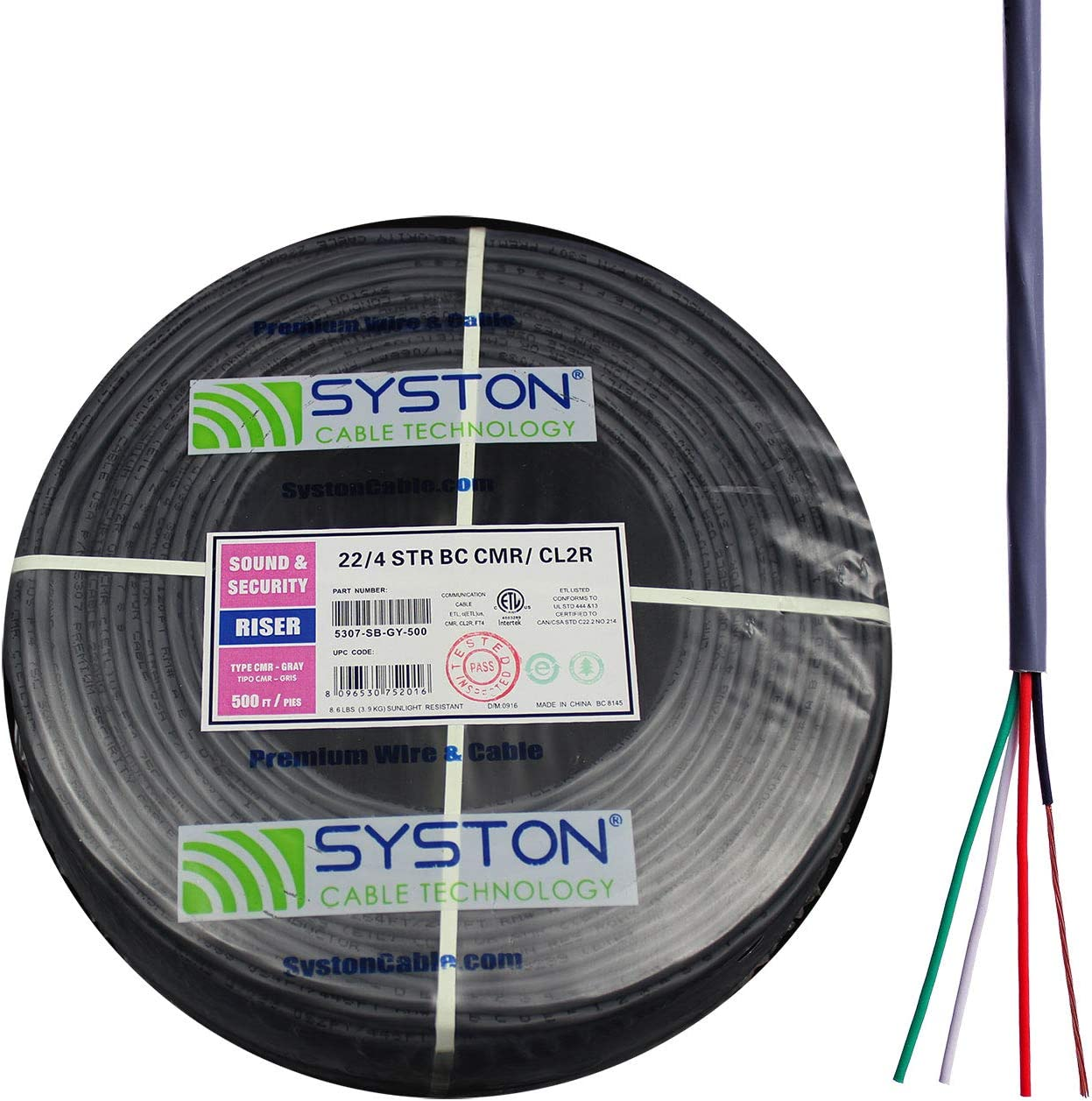 UL//ETL CMR//CL3R Gray 500ft Speed Bag 22//4 22 AWG 4 Stranded Pure Copper Conductors Unshielded Security Control Alarm Cable