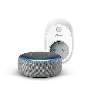 Echo Dot (3.ª generación), tela de color gris oscuro +TP-Link HS100 Enchufe inteligente, compatible con Alexa