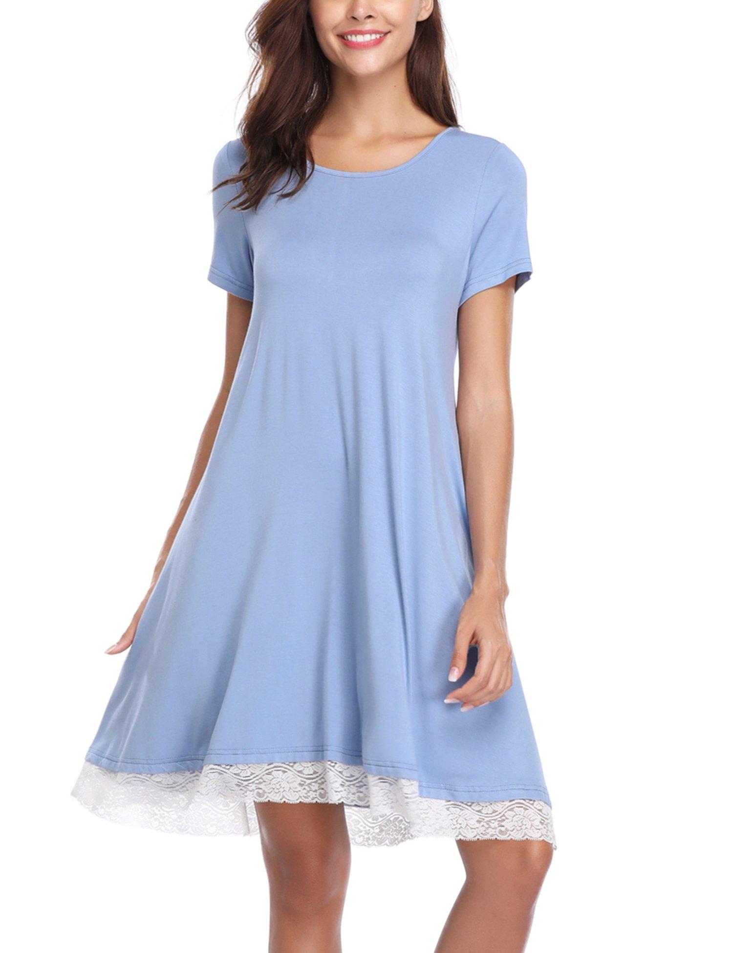 Aibrou Camisón Casual Mujer Algodón,Pijama Manga Corta Comodo y Elegante Ropa de Dormir para