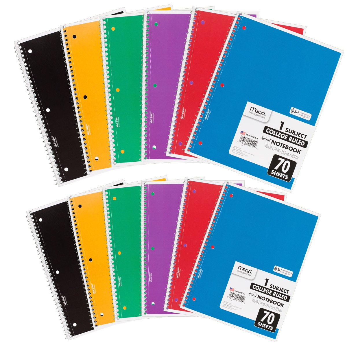 Mead Spiral Notebooks, 1 Subject, College Ruled Paper, 70 Sheets, 10-1/2 x 7-1/2, Assorted Colors, 12 Pack (73703)