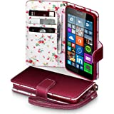 Microsoft Lumia 640 Case, Terrapin [Red] [Floral Interior] Premium PU Leather Wallet Case with Card Slots Cash Compartment and Detachable Wrist Strap for Microsoft Lumia 640 - Red