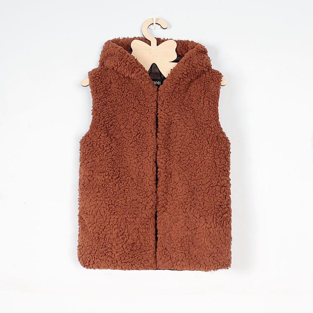 URSING Faux Pelz Weste Baby M/ädchen Kapuzenmantel Kid Herbst Winter Warm Outwear Super s/ü/ße Prinzessin /ärmellose Kleidung Fleece Covered Button /übergangsjacke Dicken Hoodies Mantel