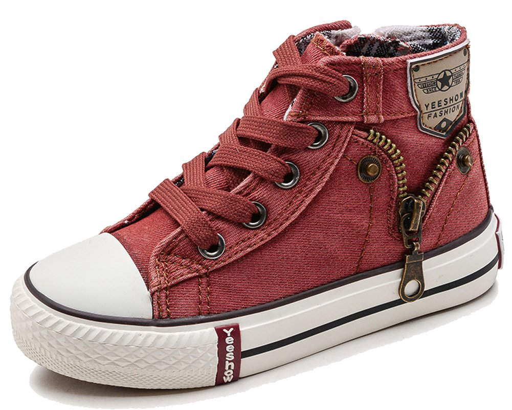 HiEase Kids Classic Denim High Top Canvas Shoes Fashion Zipper Athletic Sneakers (8 M US Toddler, Red (Lace-up))